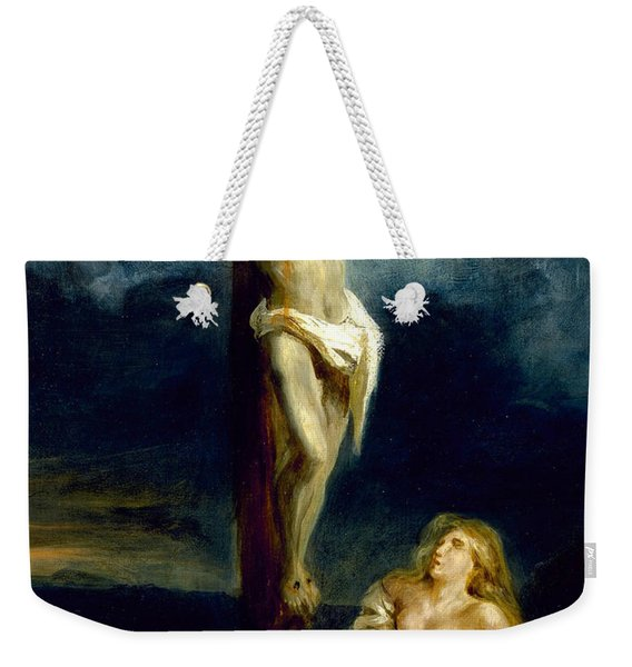 Saint Mary Magdalene At The Foot Of The Cross Weekender Tote Bag
