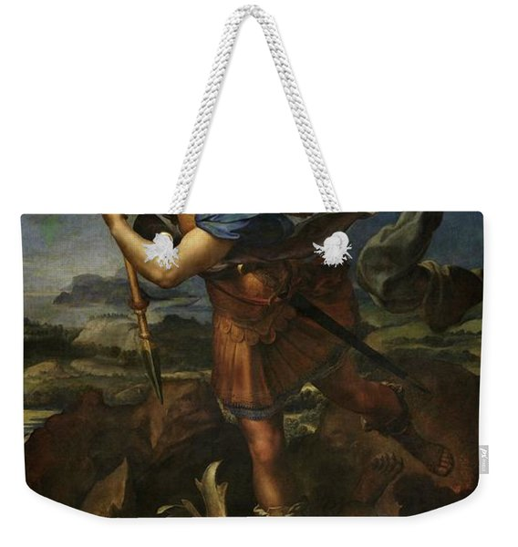 Saint Michael Defeats Satan Weekender Tote Bag