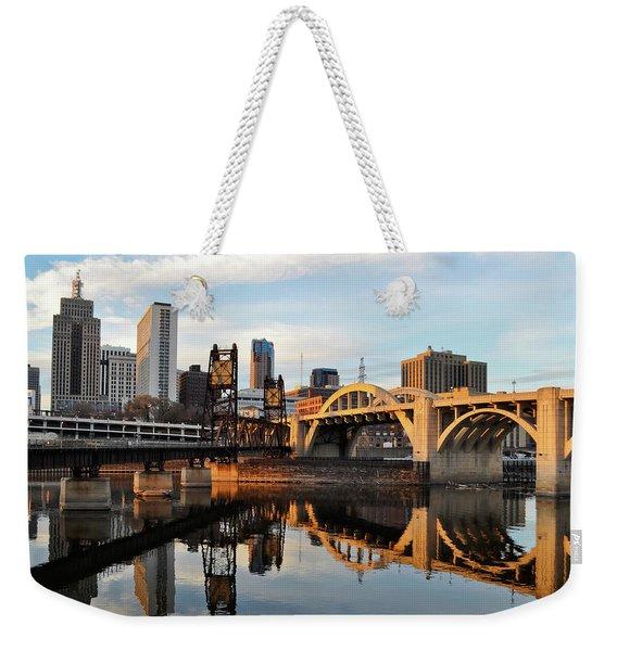 Saint Paul Mississippi River Sunset Weekender Tote Bag