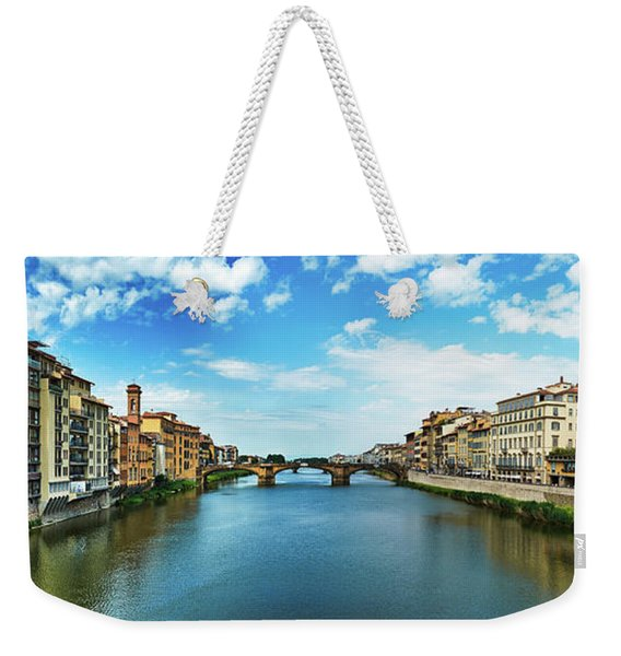Panoramic View Of Saint Trinity Bridge From Ponte Vecchio In Florence, Italy Weekender Tote Bag