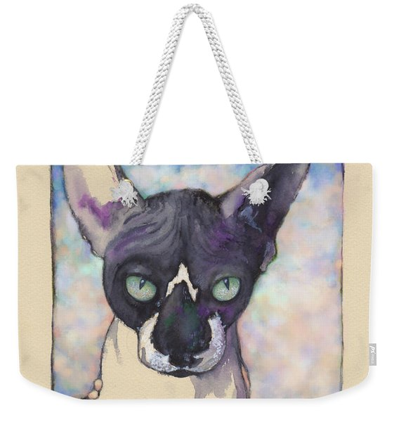 Weekender Tote Bag featuring the mixed media Sam The Sphynx by Lora Serra