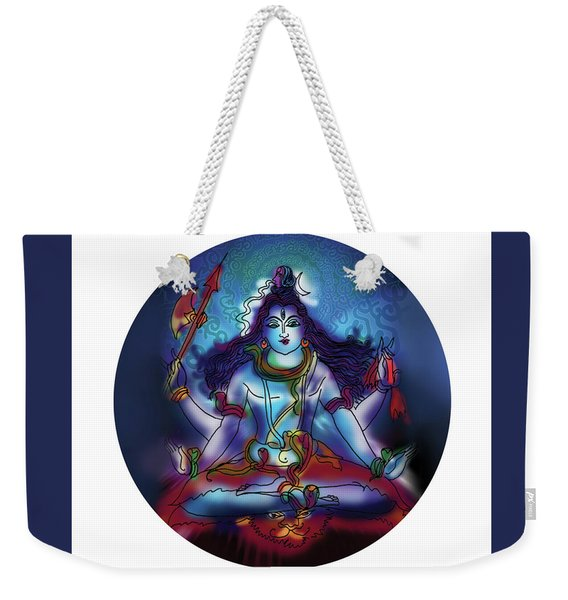 Weekender Tote Bag featuring the painting Samadhi Shiva by Guruji Aruneshvar Paris Art Curator Katrin Suter
