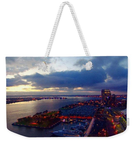 San Diego By Night Weekender Tote Bag