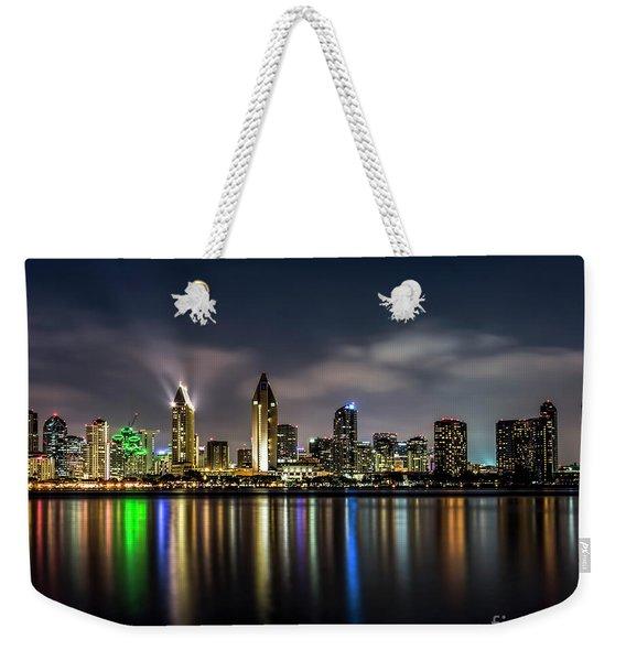 San Diego Skyline At Night Weekender Tote Bag