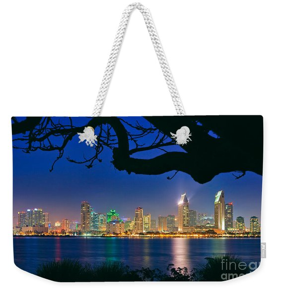 Weekender Tote Bag featuring the photograph San Diego Skyline From Bay View Park In Coronado by Sam Antonio