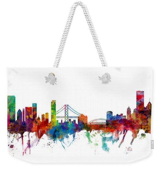 San Francisco And Pittsburgh Skylines Mashup Weekender Tote Bag