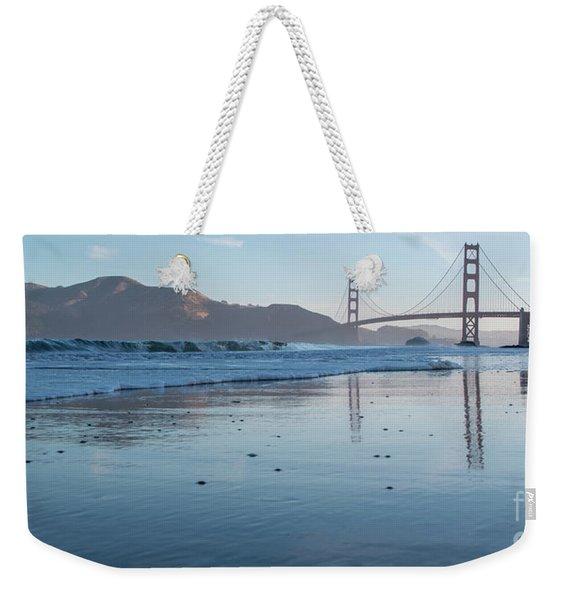 San Francisco Golden Gate Bridge Reflected On Baker's Beach Wet  Weekender Tote Bag