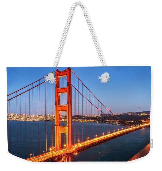 San Francisco Through The Golden Gate Bridge At Dusk Weekender Tote Bag