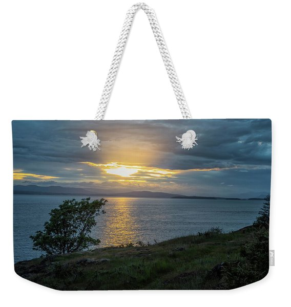 Weekender Tote Bag featuring the photograph San Juan Island Sunset by Tom Singleton