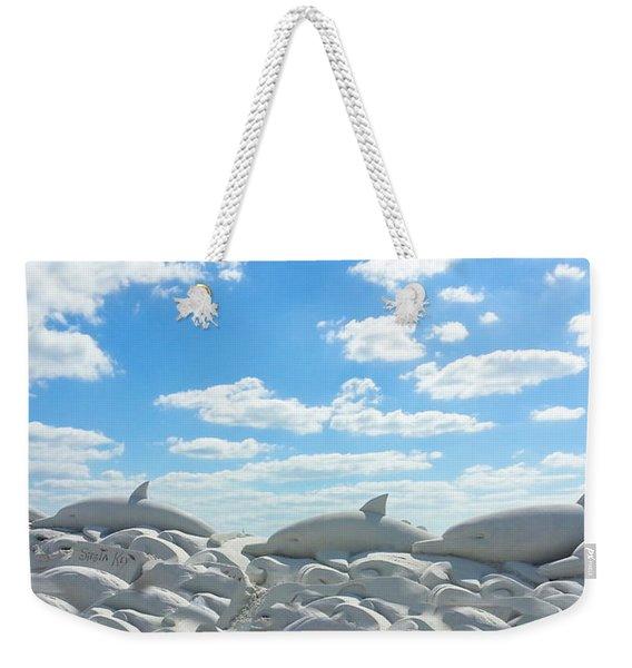 Sand Dolphins At Siesta Key Beach Weekender Tote Bag