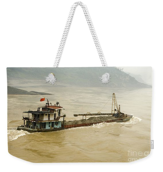 Sand Freighter On The Yangtze River Weekender Tote Bag