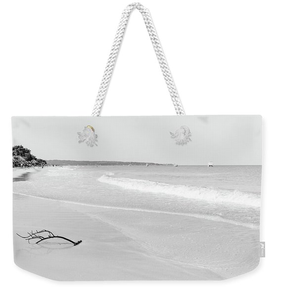 Sand Meets The Sea In Black And White Weekender Tote Bag