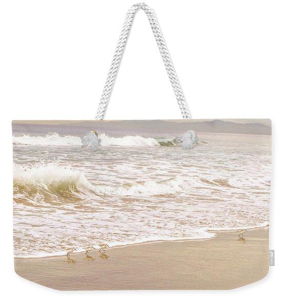 Weekender Tote Bag featuring the photograph Sandelings In Hermosa by Michael Hope