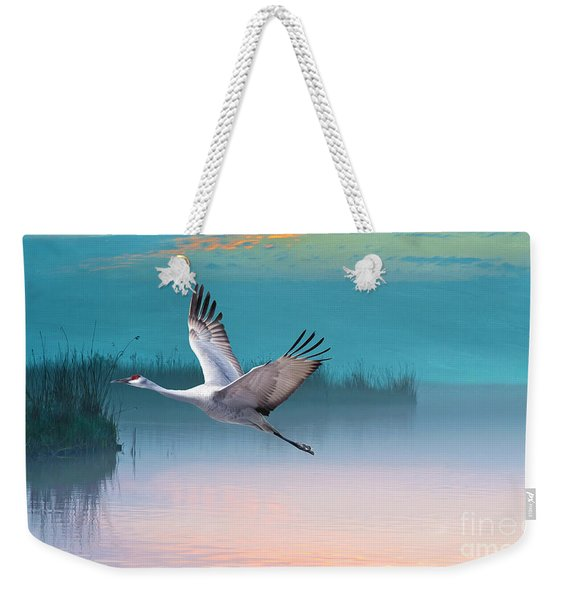 Sandhill Crane And Misty Marshes Weekender Tote Bag