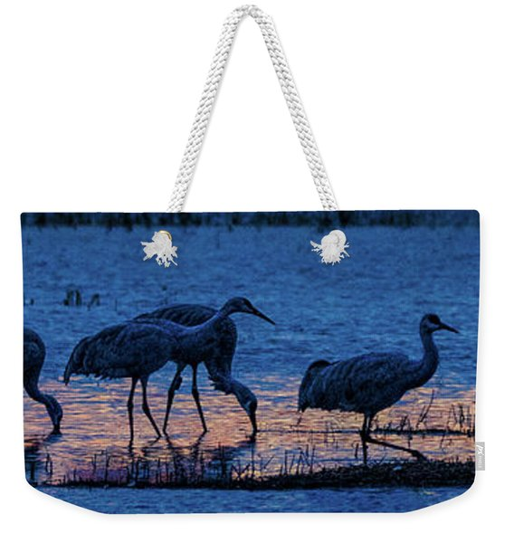 Sandhill Cranes At Twilight Weekender Tote Bag