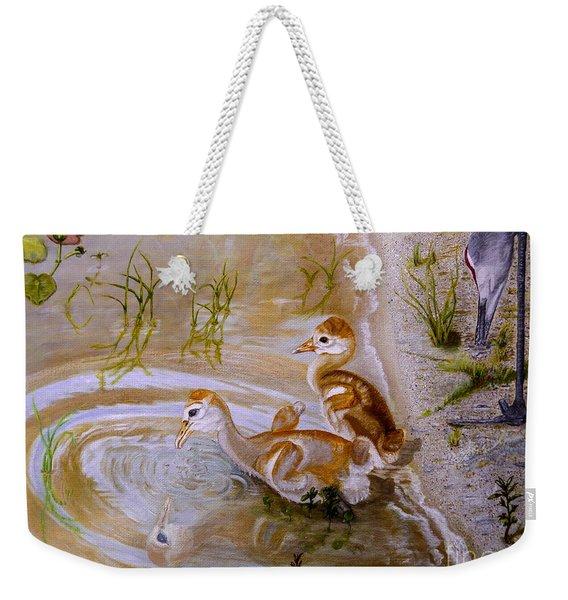 Sandhill Cranes Chicks First Bath Weekender Tote Bag