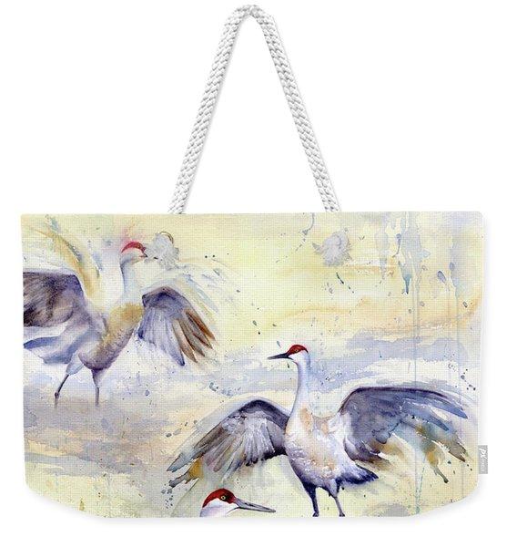 Wetlands Courtship - Sandhill Cranes Weekender Tote Bag