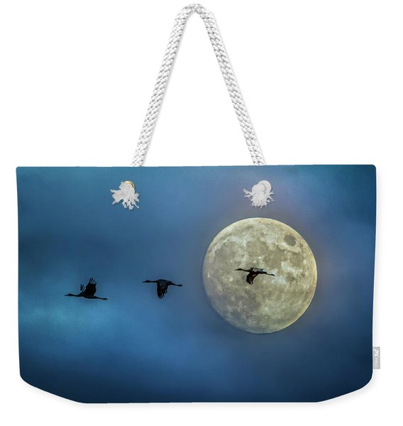 Sandhill Cranes With Full Moon Weekender Tote Bag