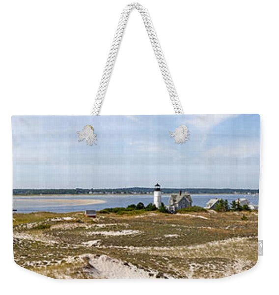 Sandy Neck Lighthouse With Fishing Boat Weekender Tote Bag