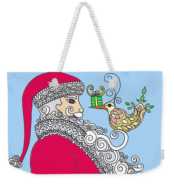 Santa And Bird On Blue Weekender Tote Bag