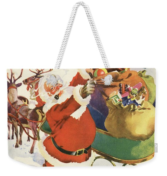 Santa And His Bags Of Toys On Christmas Eve Weekender Tote Bag