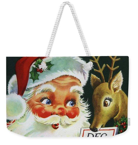 Santa Claus With His Deer On 25th. December Weekender Tote Bag