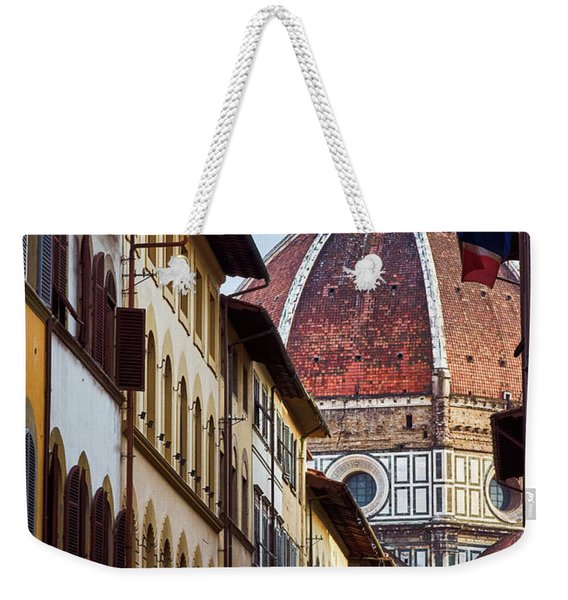 Santa Maria Del Fiore From Via Dei Servi Street In Florence, Italy Weekender Tote Bag