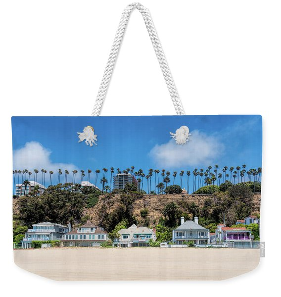 Weekender Tote Bag featuring the photograph Santa Monica Beach Front by Michael Hope