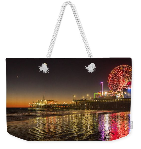 Weekender Tote Bag featuring the photograph Santa Monica Pier After Sunset by Michael Hope