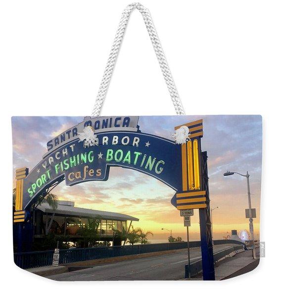 Santa Monica Yacht Harbor Sign Weekender Tote Bag