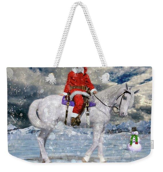 Santa Rides To Town Weekender Tote Bag