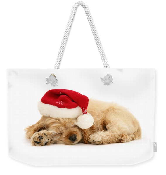 Santa's Sleepy Spaniel Weekender Tote Bag
