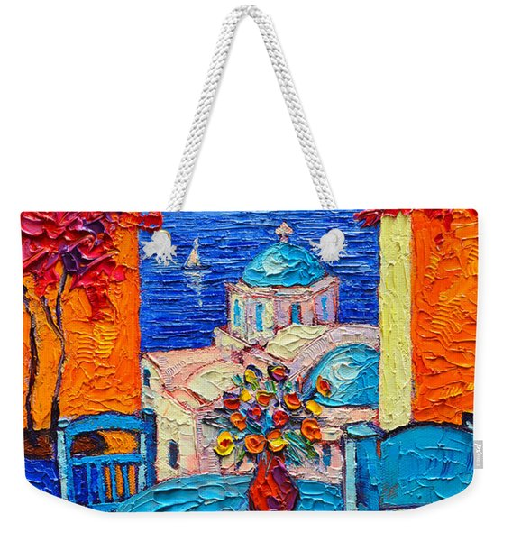 Santorini Dream Greece Contemporary Impressionist Palette Knife Oil Painting By Ana Maria Edulescu Weekender Tote Bag