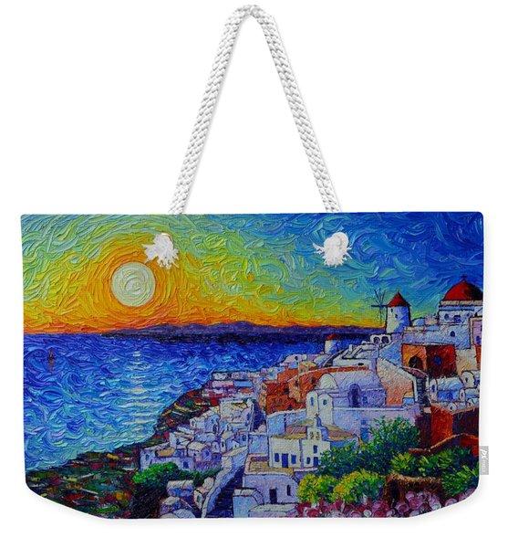 Santorini Oia Sunset Modern Impressionist Impasto Palette Knife Oil Painting By Ana Maria Edulescu Weekender Tote Bag