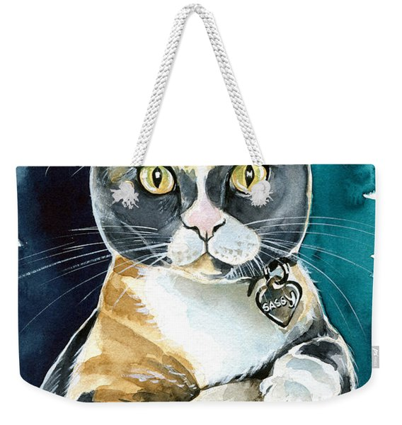 Sassy - Calico Cat Painting Weekender Tote Bag