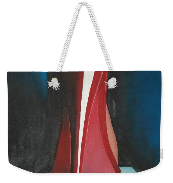 Weekender Tote Bag featuring the painting Sassy Shoe by Jacqueline Athmann
