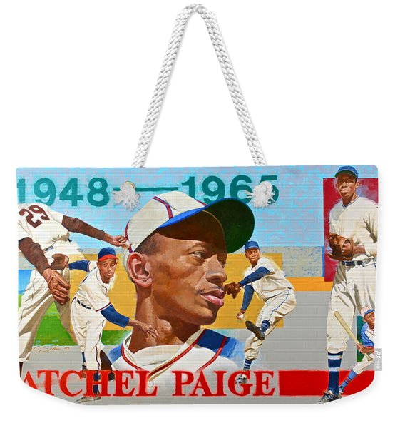 Weekender Tote Bag featuring the painting Satchel Paige by Cliff Spohn