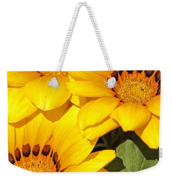 Satin Yellow Florals Weekender Tote Bag