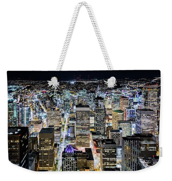 Weekender Tote Bag featuring the photograph Seattle Lights by Mihai Andritoiu