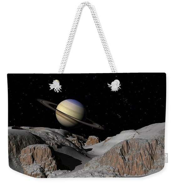 Saturn From The Moon Dione Weekender Tote Bag