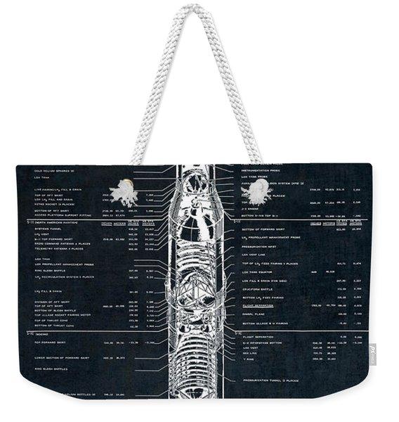 Saturn V Apollo Moon Mission Rocket Blueprint  1967 Weekender Tote Bag