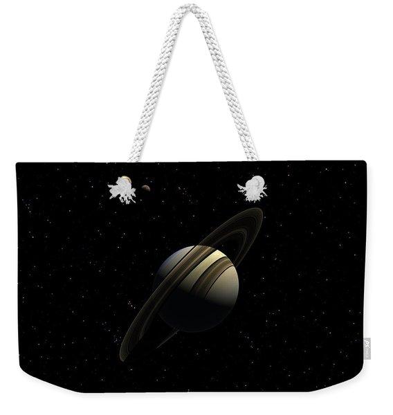 Saturn With Titan Weekender Tote Bag