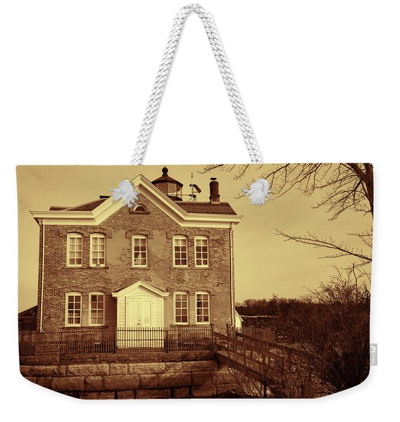 Weekender Tote Bag featuring the photograph Saugerties Lighthouse Sepia by Nancy De Flon