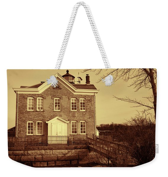 Saugerties Lighthouse Sepia Weekender Tote Bag