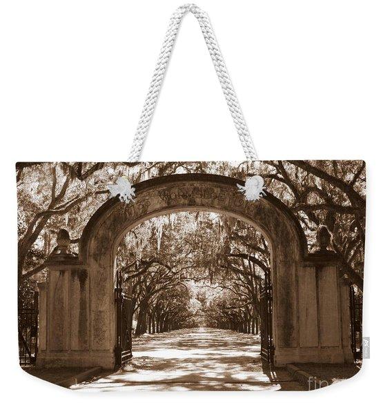 Savannaha Sepia - Wormsloe Plantation Gate Weekender Tote Bag