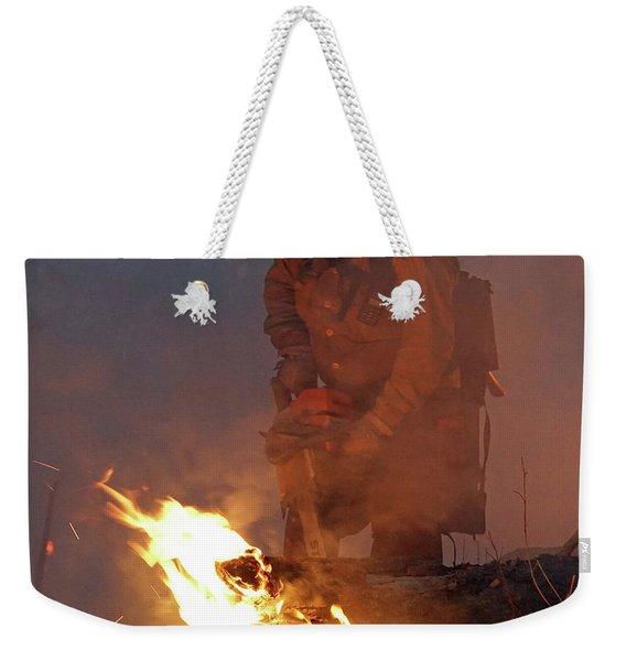Sawyer, North Pole Fire Weekender Tote Bag