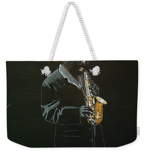 Weekender Tote Bag featuring the painting Sax Player by Richard Le Page