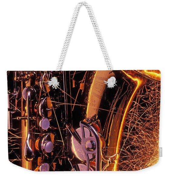 Sax With Sparks Weekender Tote Bag