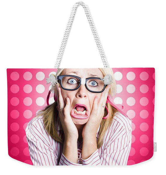 Scared Goofy Business Person Expressing Fear Weekender Tote Bag
