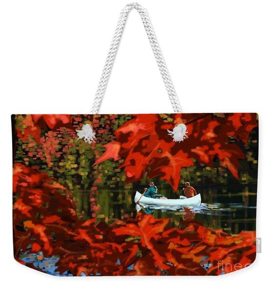 Scenic Autumn Canoe  Weekender Tote Bag
